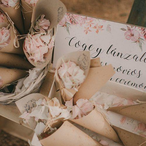 Conos-de-pétalos-naturales-para-boda